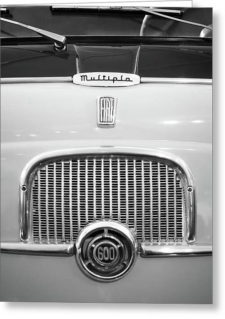 1956 Fiat 600 Multipla Grille Emblem -0133bw Greeting Card
