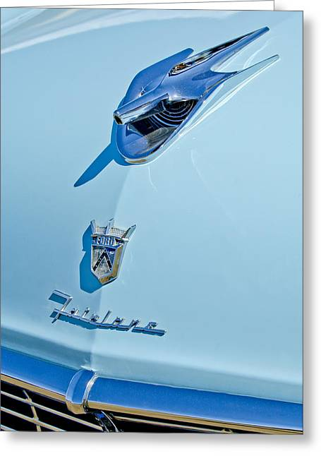 1956 Ford Fairlane Hood Ornament 3 Greeting Card by Jill Reger