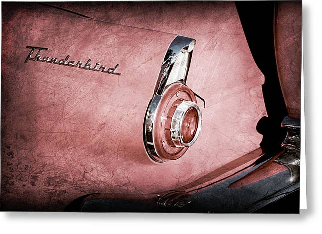 Greeting Card featuring the photograph 1956 Ford Thunderbird Convertible Taillight Emblem -0361ac by Jill Reger