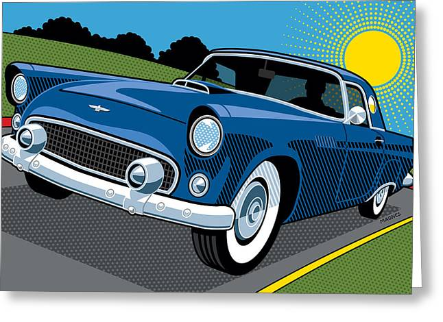 Greeting Card featuring the digital art 1956 Ford Thunderbird Sunday Cruise by Ron Magnes