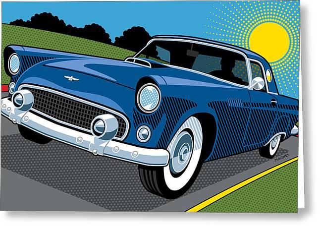 1956 Ford Thunderbird Sunday Cruise Greeting Card