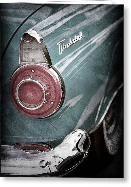 Greeting Card featuring the photograph 1956 Ford Thunderbird Taillight Emblem -0382ac by Jill Reger