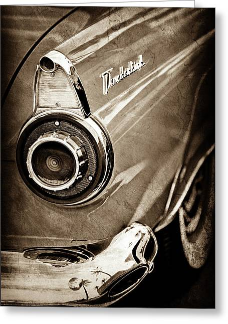 Greeting Card featuring the photograph 1956 Ford Thunderbird Taillight Emblem -0382s by Jill Reger
