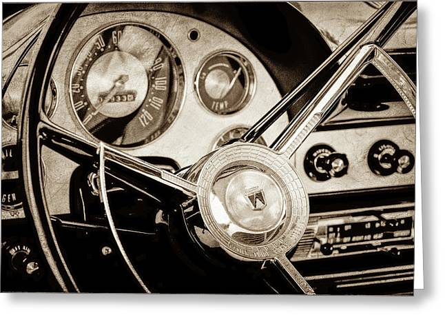 Greeting Card featuring the photograph 1956 Ford Victoria Steering Wheel -0461s by Jill Reger