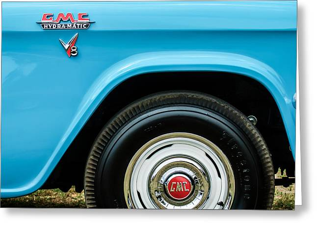 1956 Gmc 100 Deluxe Edition Pickup Truck  Side And Wheel Emblems -1498c Greeting Card by Jill Reger