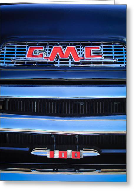 1956 Gmc Suburban Pickup Grille Emblem -0194c1 Greeting Card by Jill Reger