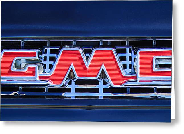 1956 Gmc Suburban Pickup Grille Emblem -0194c2 Greeting Card by Jill Reger