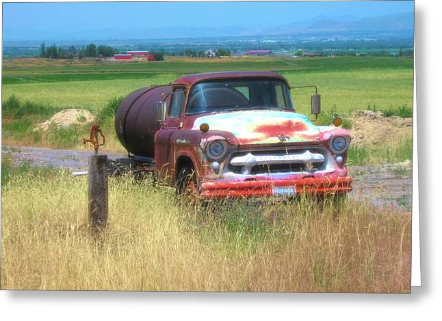 1956 Heavy Chevy Truck In Cache Valley Greeting Card