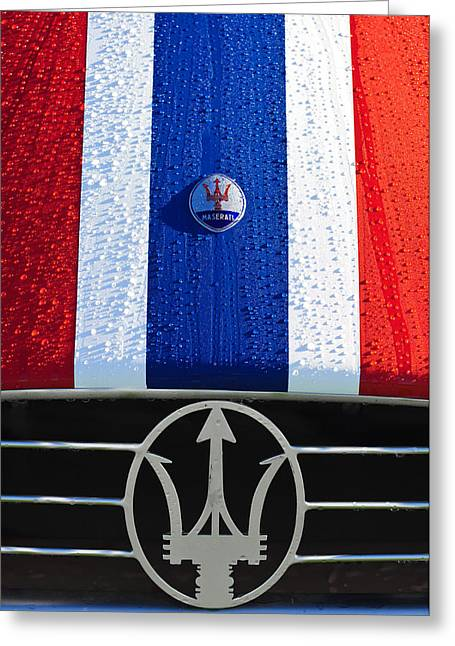 1956 Maserati 350 S Hood Ornament Emblem 3 Greeting Card by Jill Reger