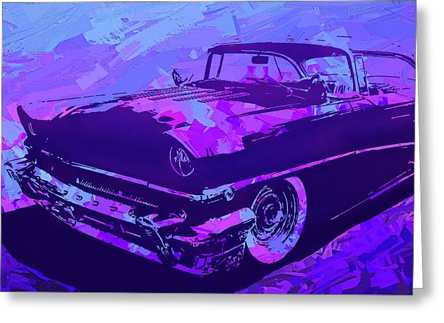 Greeting Card featuring the digital art 1956 Mercury Hardtop Custom Pop Violet by David King