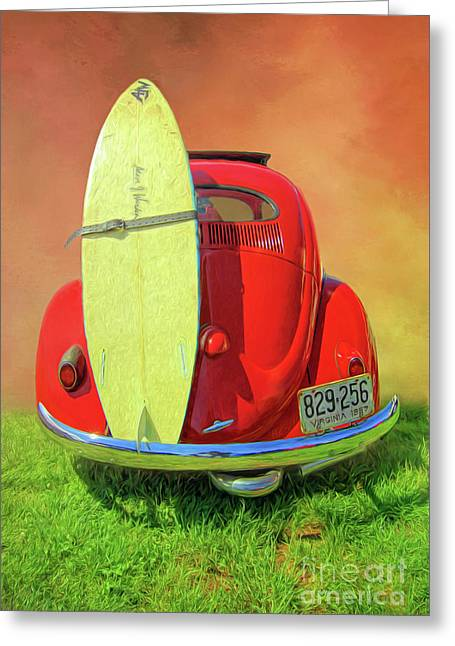 1957 Beetle Oval Greeting Card