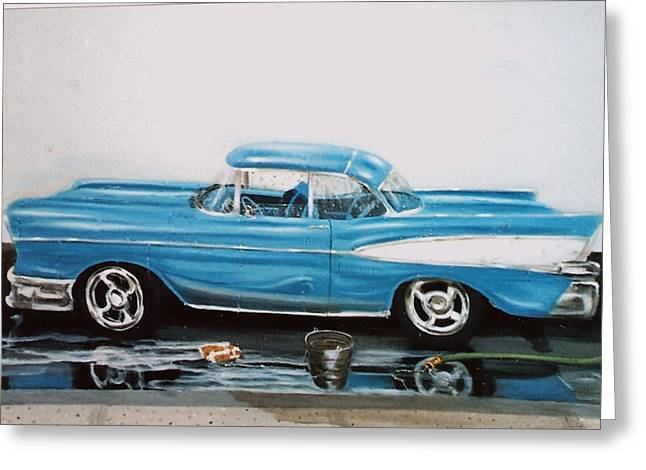 Greeting Card featuring the painting 1957 Bel Air by Susan Roberts