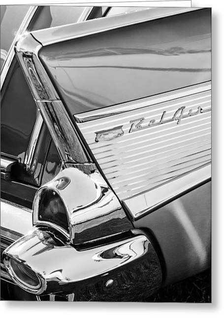 1957 Chevrolet Bel Air Tail Light Emblem -0140bw Greeting Card
