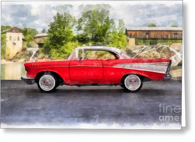 1957 Chevrolet Bel Air Watercolor Greeting Card