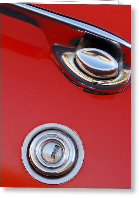 1957 Chevrolet Corvette Convertible Door Handle Greeting Card by Jill Reger