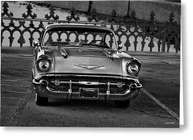 1957 Chevy At The Gate Bw Greeting Card by Lesa Fine