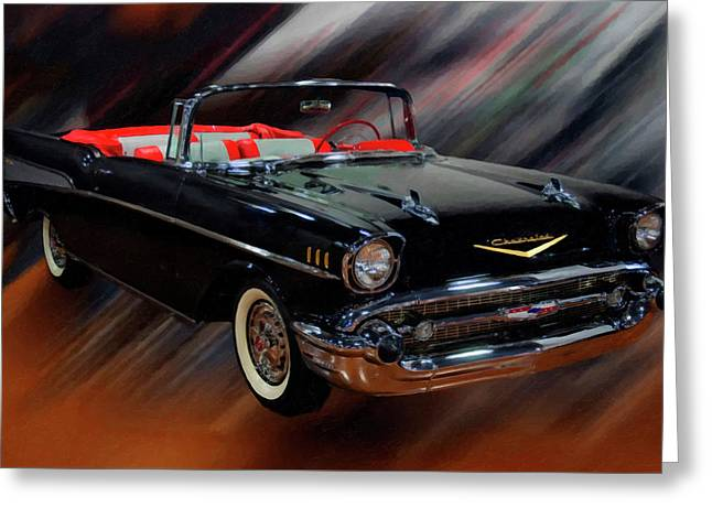 1957 Chevy Bel Air Convertible Digital Oil Greeting Card