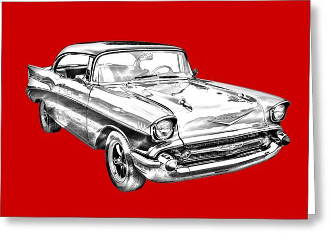 1957 Chevy Bel Air Illustration Greeting Card