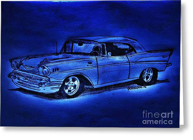 1957 Chevy Bel Air - Moonlight Cruisin  Greeting Card