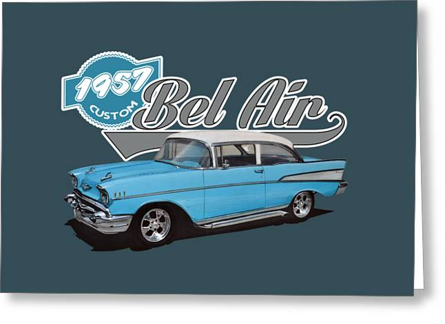 1957 Chevy Bel Air Greeting Card by Paul Kuras