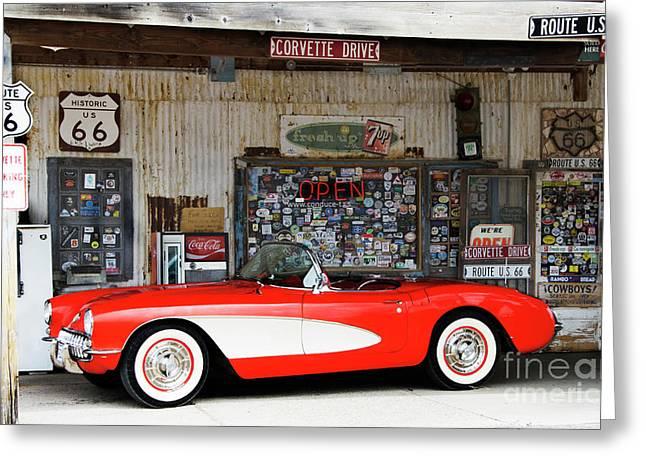 1957 Corvette Hackberry Arizona Greeting Card by Bob Christopher