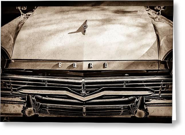 1957 Ford Custom 300 Series Ranchero Grille Emblem -0465s Greeting Card by Jill Reger