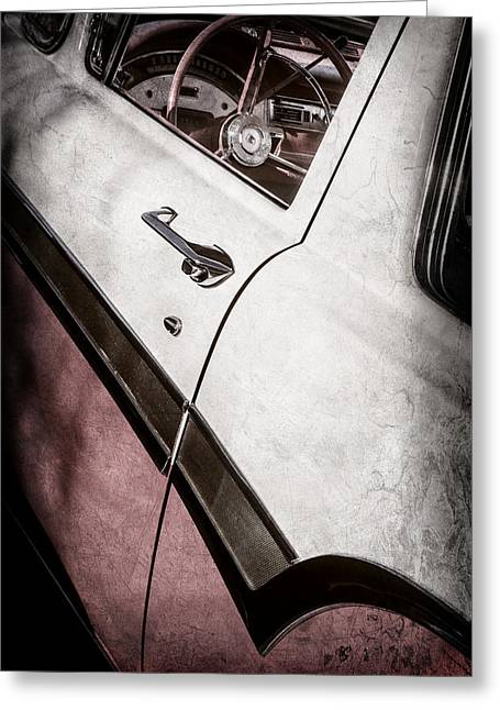 1957 Ford Custom 300 Series Ranchero Steering Wheel -0549ac Greeting Card by Jill Reger