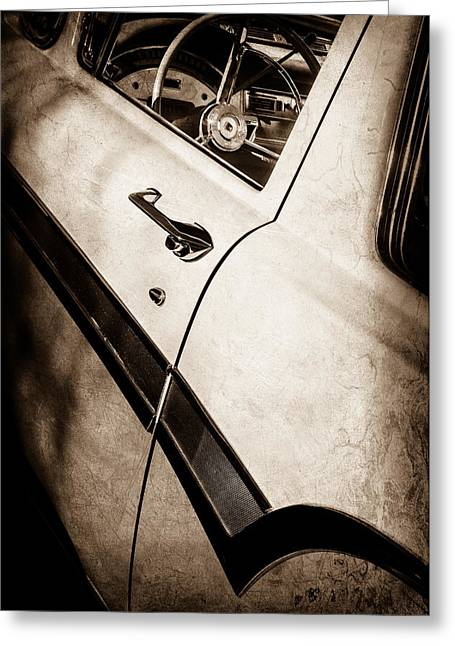 1957 Ford Custom 300 Series Ranchero Steering Wheel -0549s Greeting Card by Jill Reger