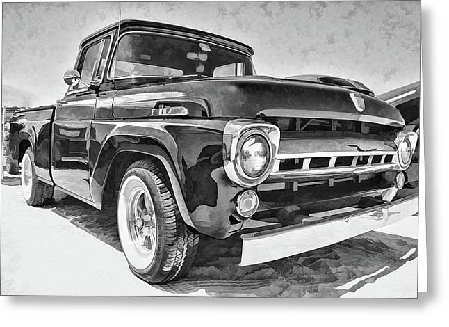 1957 Ford F100 In Black And White Greeting Card