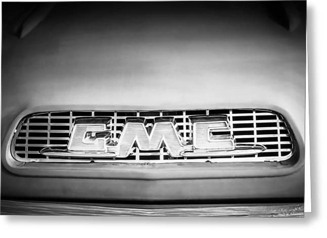 1957 Gmc Pickup Truck Grille Emblem -0329bw1 Greeting Card by Jill Reger