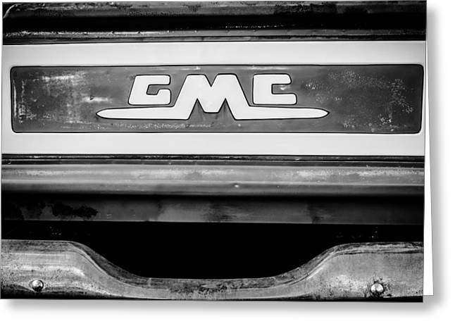 1957 Gmc Pickup Truck Tail Gate Emblem -0272bw1 Greeting Card by Jill Reger