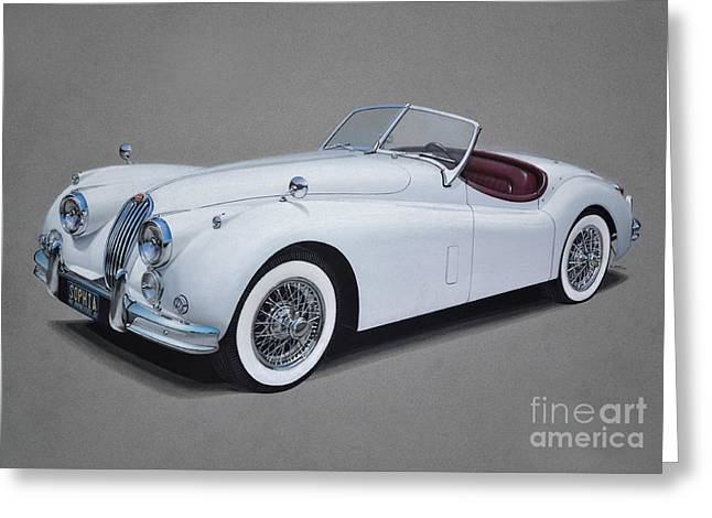 1957 Jaguar Xk140 Greeting Card by Paul Kuras
