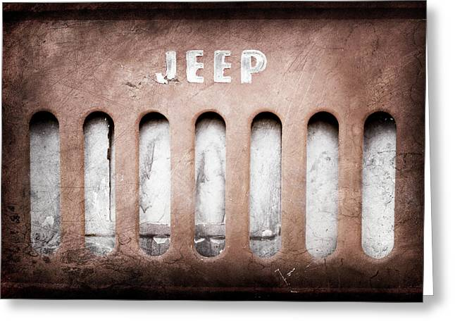 Greeting Card featuring the photograph 1957 Jeep Emblem -0597ac by Jill Reger