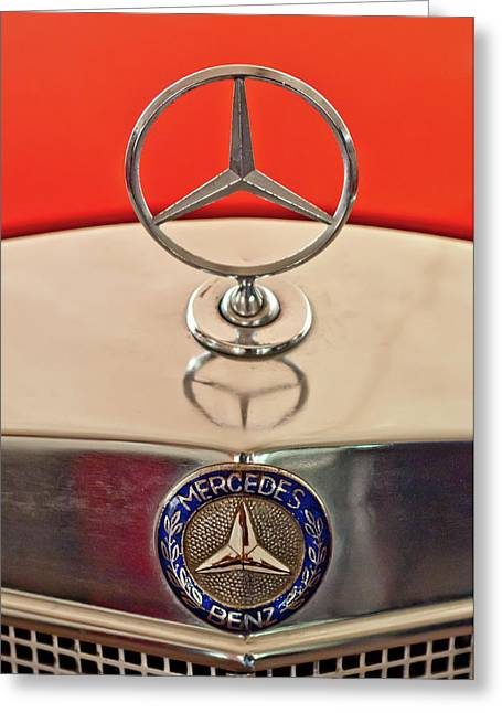 1957 Mercedes-benz 220 S Hood Ornament Greeting Card by Jill Reger