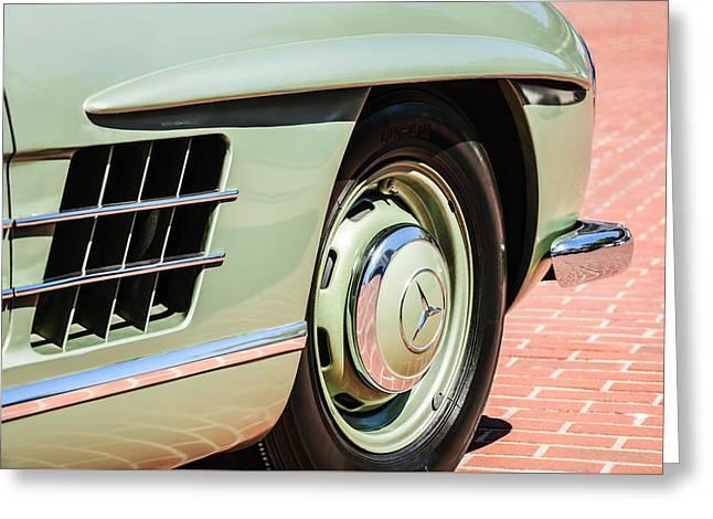 1957 Mercedes-benz 300 Sl Roadster Wheel Emblem -0121c Greeting Card