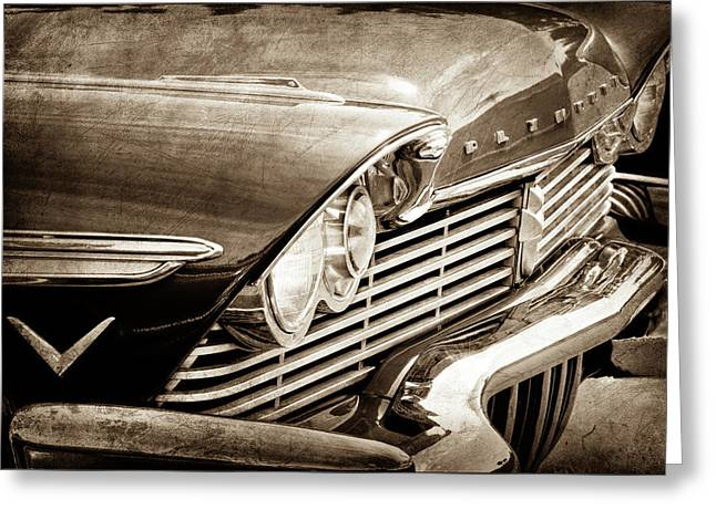 1957 Plymouth Belvedere Grille -0909s Greeting Card