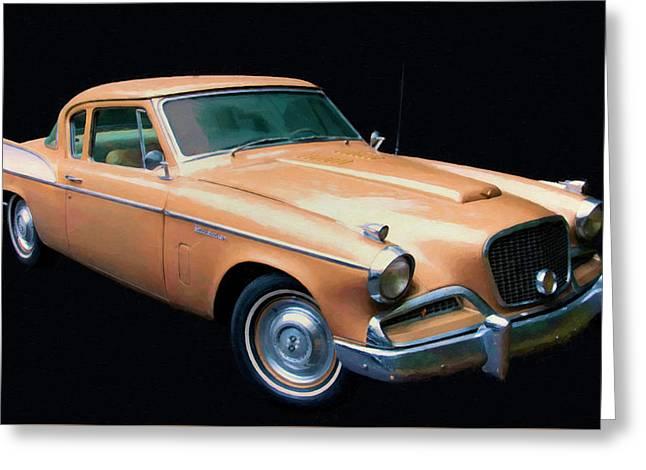 1957 Studebaker Golden Hawk Digital Oil Greeting Card by Chris Flees