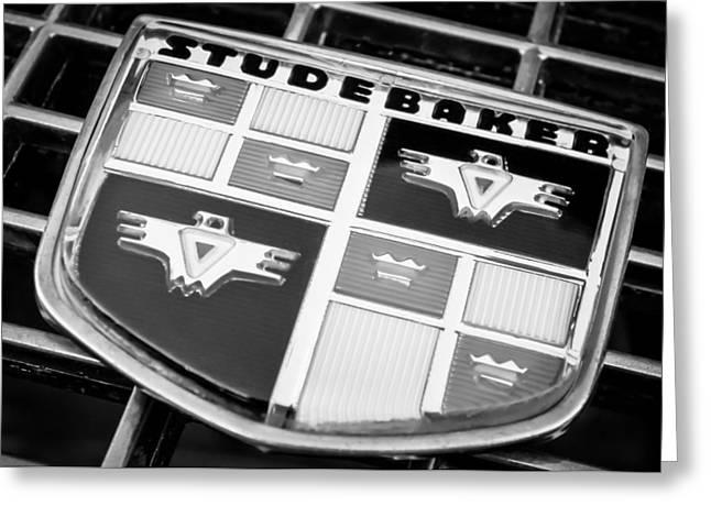 1957 Studebaker Golden Hawk Emblem -0393bw Greeting Card by Jill Reger