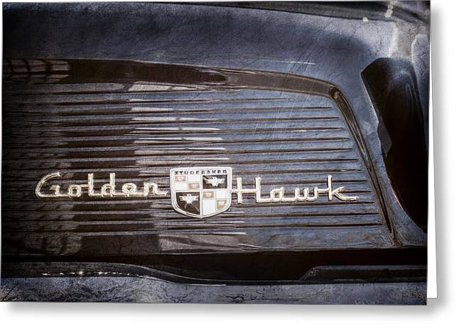 1957 Studebaker Golden Hawk Supercharged Sports Coupe Emblem -0756ac Greeting Card by Jill Reger