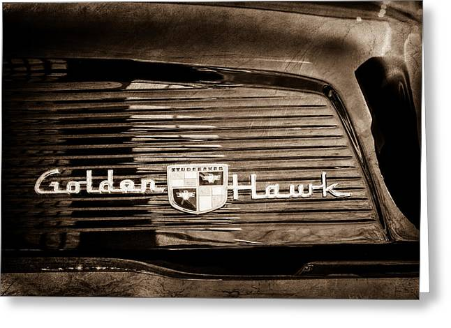 1957 Studebaker Golden Hawk Supercharged Sports Coupe Emblem -0756s Greeting Card by Jill Reger