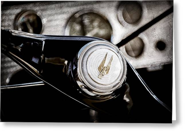 1957 Studebaker Golden Hawk Supercharged Sports Coupe Steering Wheel Emblem -1202ac Greeting Card by Jill Reger