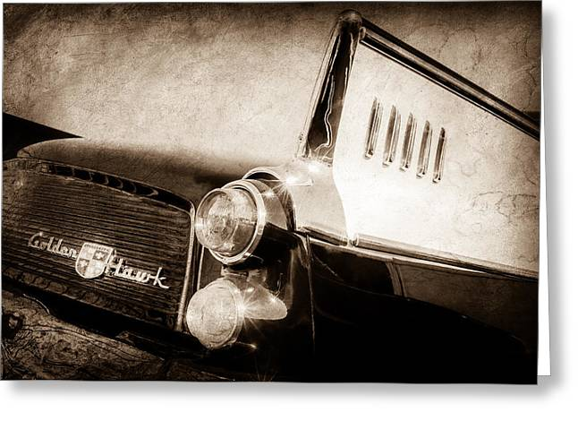 1957 Studebaker Golden Hawk Supercharged Sports Coupe Tail Light Emblem -0733s Greeting Card by Jill Reger