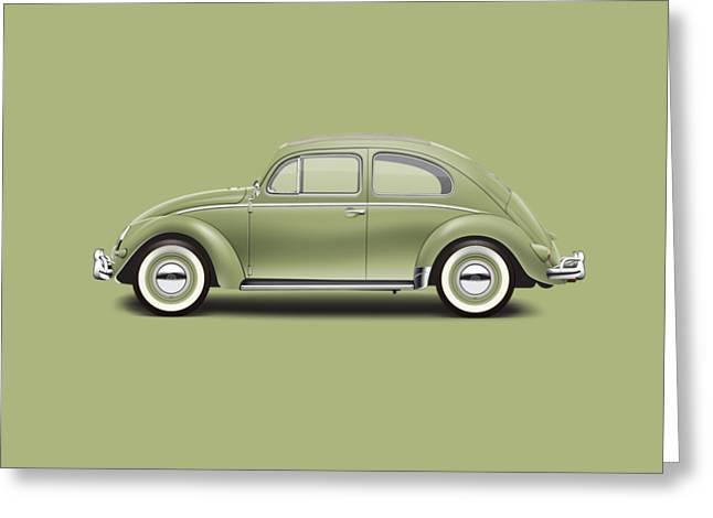 1957 Volkswagen Deluxe Sedan - Diamond Green Greeting Card by Ed Jackson