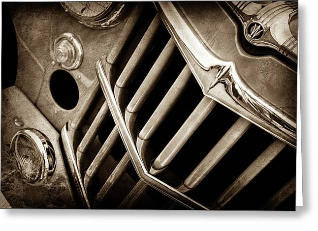 1957 Willys Jeep 6-226 Wagon Grille Emblem -1046s Greeting Card by Jill Reger