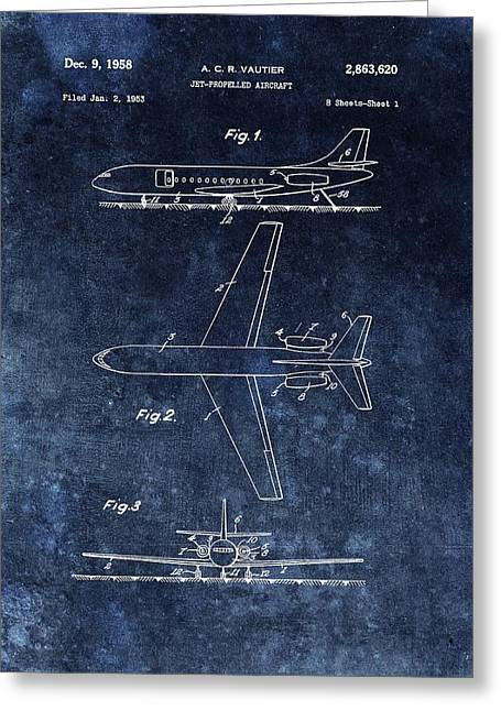 1958 Airplane Patent Blue Greeting Card by Dan Sproul