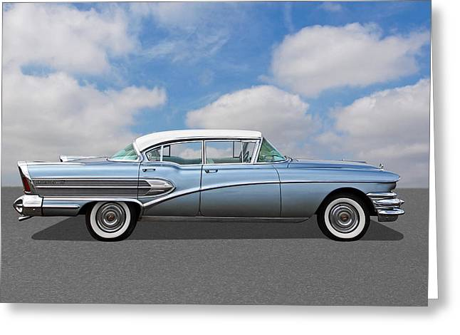 1958 Buick Roadmaster 75 Greeting Card by Gill Billington