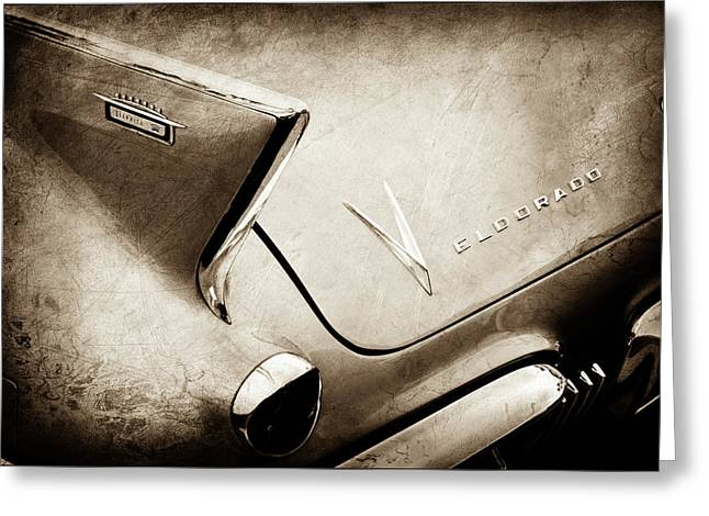 Greeting Card featuring the photograph 1958 Cadillac Eldorado Biarritz Taillight Emblems -0255s by Jill Reger