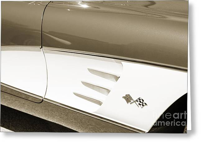 1958 Corvette By Chevrolet Side Panel And A Sepia Photograph 348 Greeting Card by M K  Miller