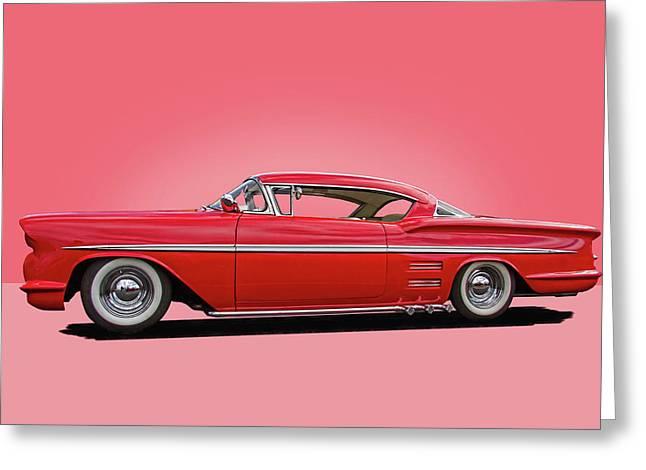 1958 Customized Chevrolet Impala 3 Greeting Card