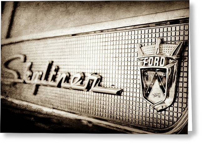 1958 Ford Fairlane Skyliner Hardtop Convertible Emblem -0437s Greeting Card
